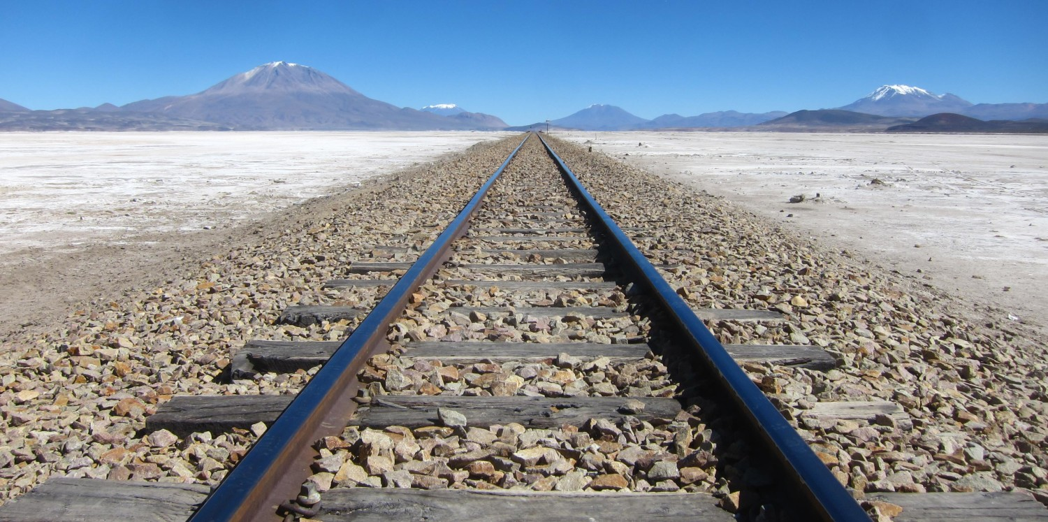 Railway cross the Salar de Uyuni in Bolivia