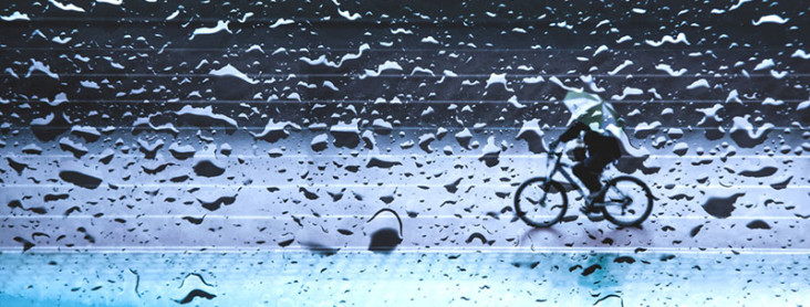Cyclist in the rain. Blog about python scraping data from wunderground rainfall data.