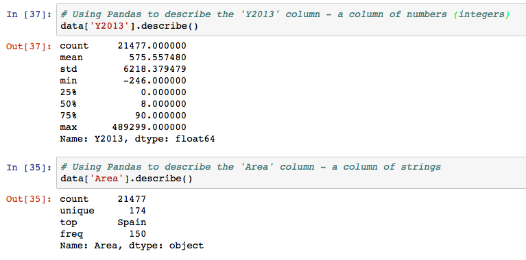 Describe function in pandas gives basic statistics on the contents of that column