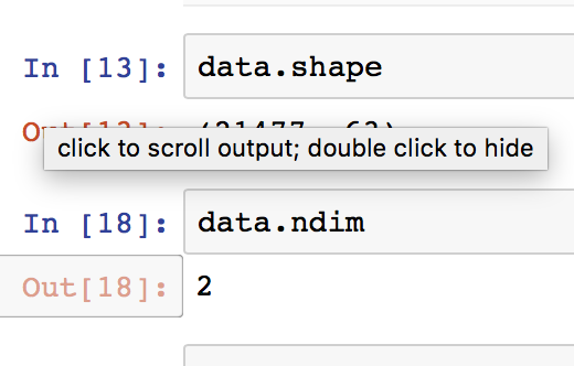 Basic descriptions of dataframes are obtained from .shape and .ndim