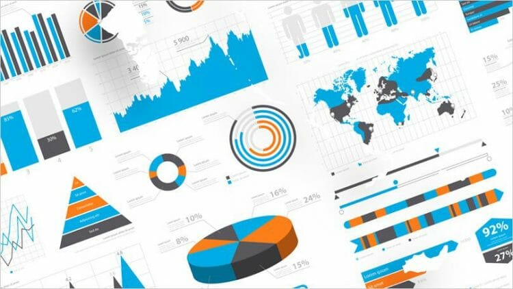 Pie charts, bar charts, line graphs data visualisations